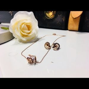 Jewelry - 18KT Gold Designer Roman Numeral Necklace Earrings